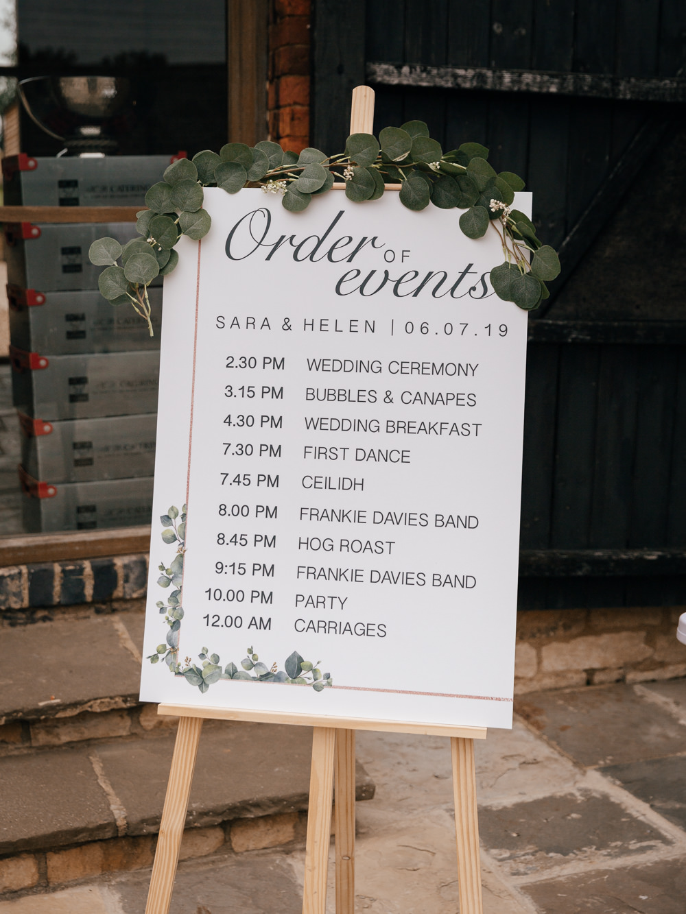 Order of the Day Sign Easel Eucalyptus Greenery Mickleton Hills Farm Wedding Jules Barron Photography