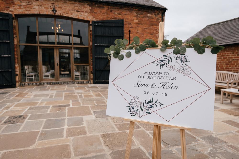 Welcome Sign Greenery Eucalyptus Easel Geometric Mickleton Hills Farm Wedding Jules Barron Photography