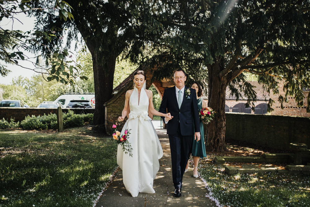 Bride Bridal Halterneck Collar Dress Gown Pockets Bow Jesus Peiro Floral Hoop Middlethorpe Hall Wedding Andy Withey Photography