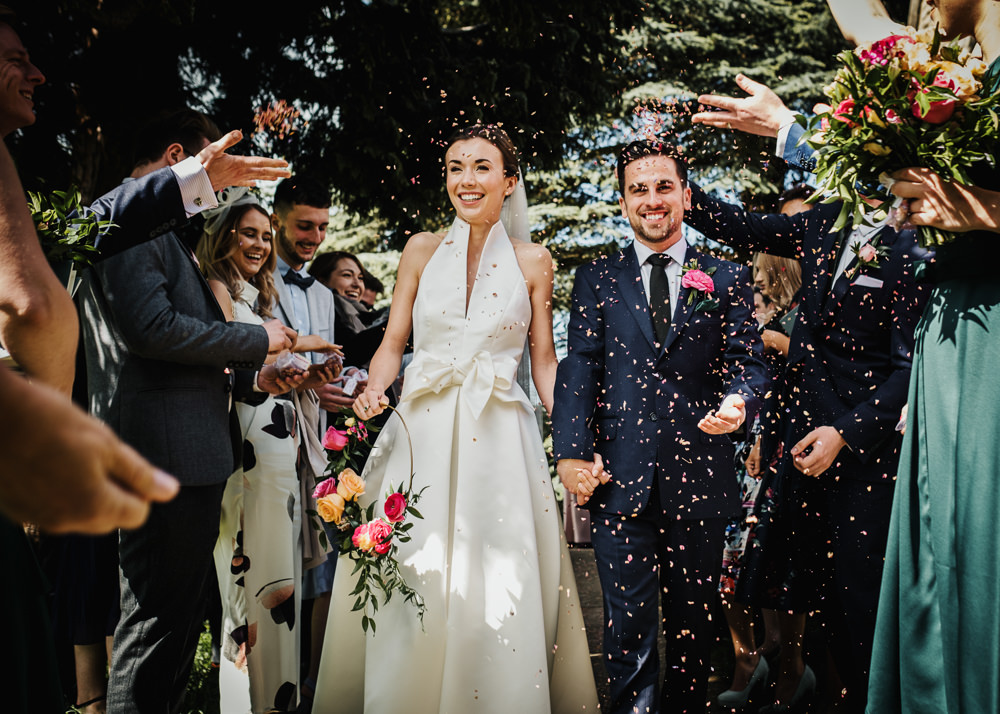 Bride Bridal Halterneck Collar Dress Gown Pockets Bow Jesus Peiro Navy Suit Groom Confetti Floral Hoop Middlethorpe Hall Wedding Andy Withey Photography