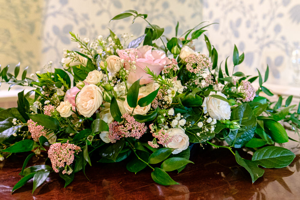 Florals Flowers Arrangement Traditional Roses Peonies Greenery Middlethorpe Hall Wedding Andy Withey Photography