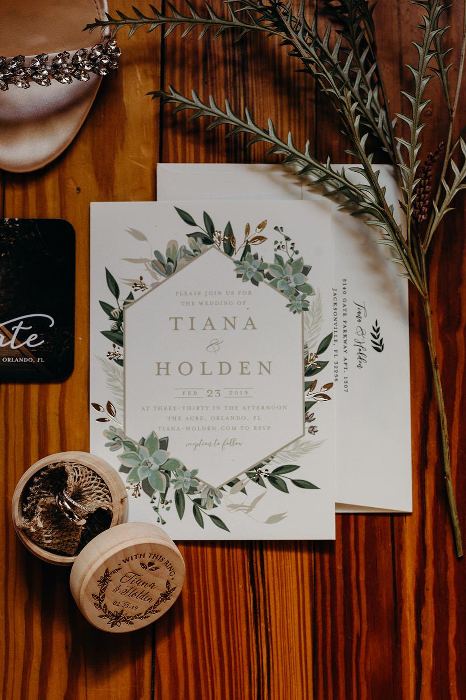 Stationery Invite Invitation Greenery Foliage Orlando Wedding Dani Nichol Photography