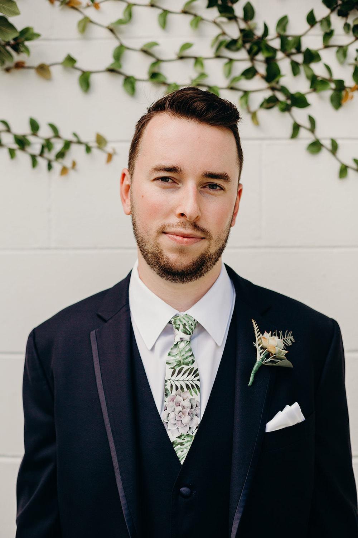 Groom Suit Navy Floral Greenery Foliage Botanical Tie Buttonhole Orlando Wedding Dani Nichol Photography