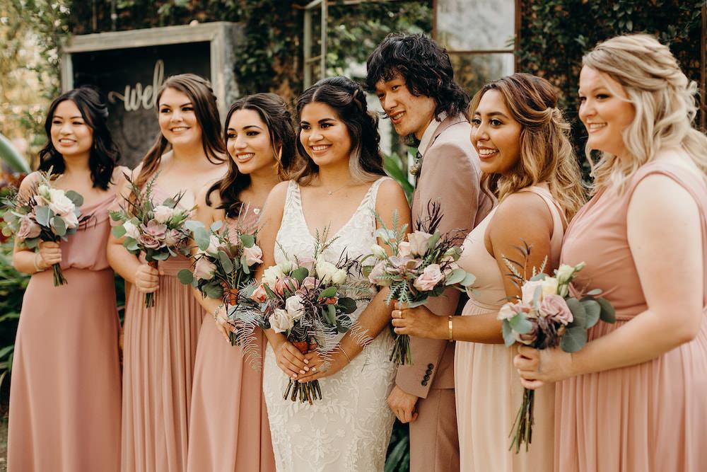 Bridesmaids Bridesmaid Dress Dresses Long Dusty Rose Pink Orlando Wedding Dani Nichol Photography