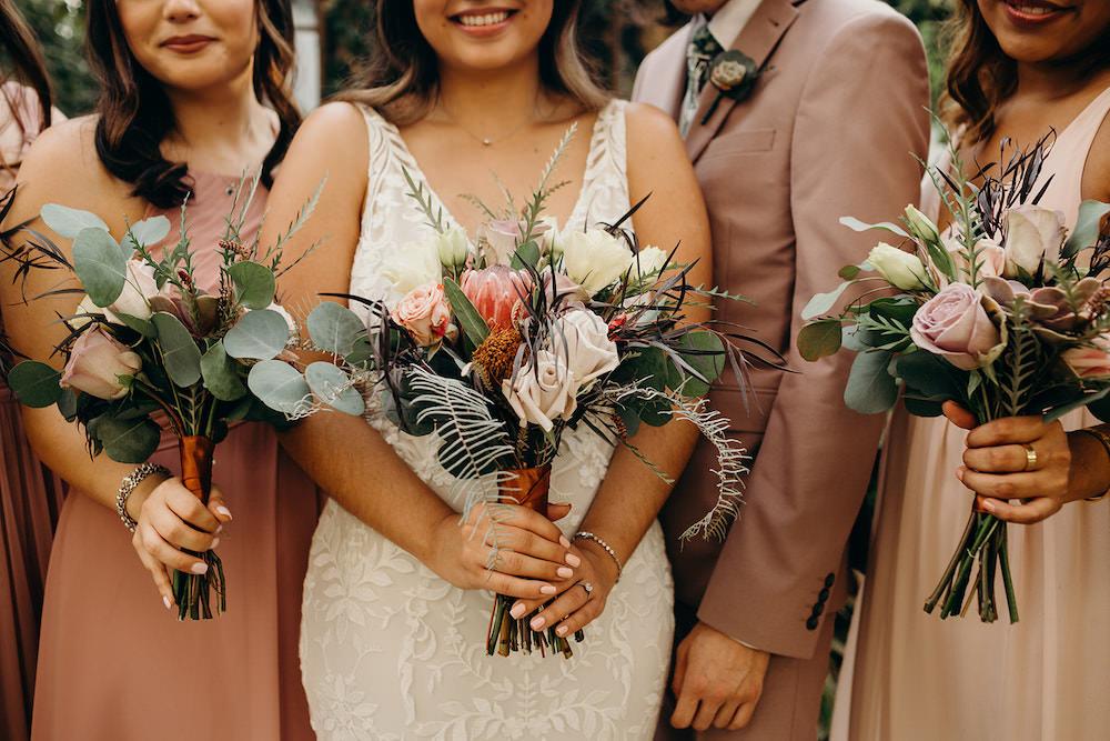 Bouquet Flowers Bride Bridal Protea Rose Bridesmaids Orlando Wedding Dani Nichol Photography