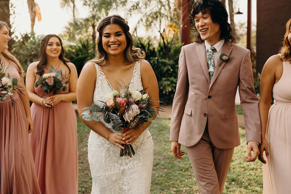 Bridesmaids Bridesmaid Dress Dresses Long Dusty Rose Pink Suit Orlando Wedding Dani Nichol Photography