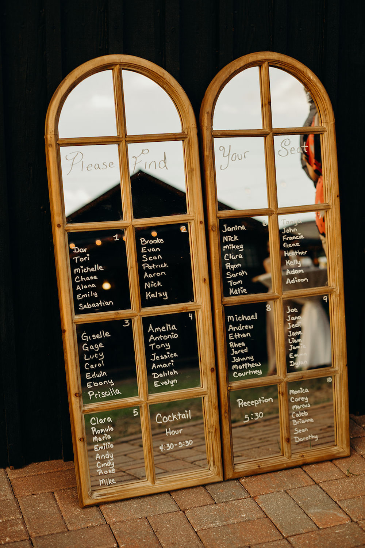 Mirror Seating Plan Table Chart Orlando Wedding Dani Nichol Photography