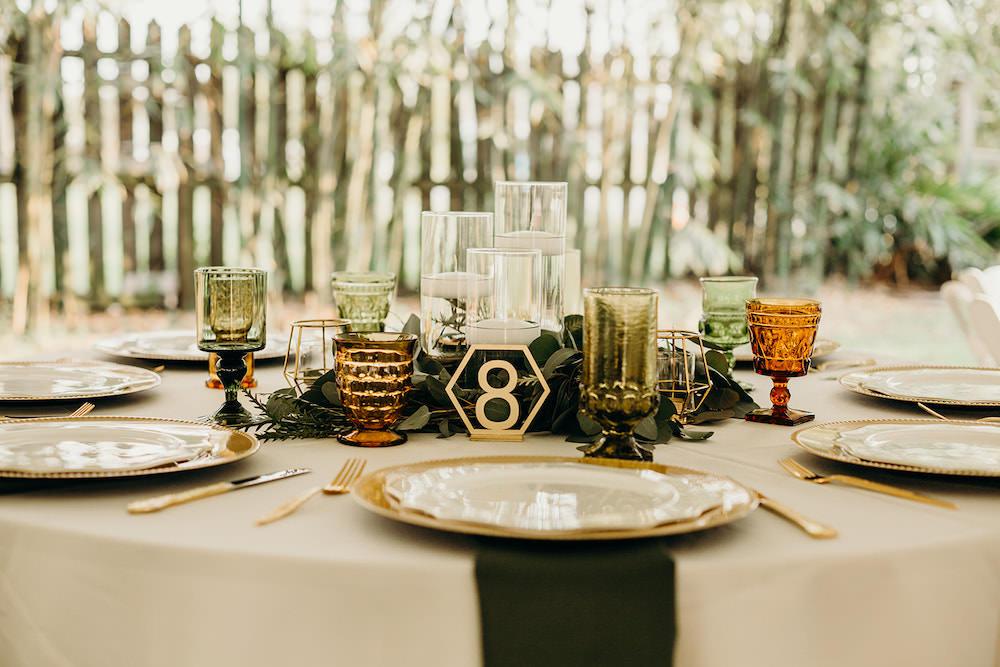 Centrepiece Decor Greenery Foliage Candles Gold Orlando Wedding Dani Nichol Photography