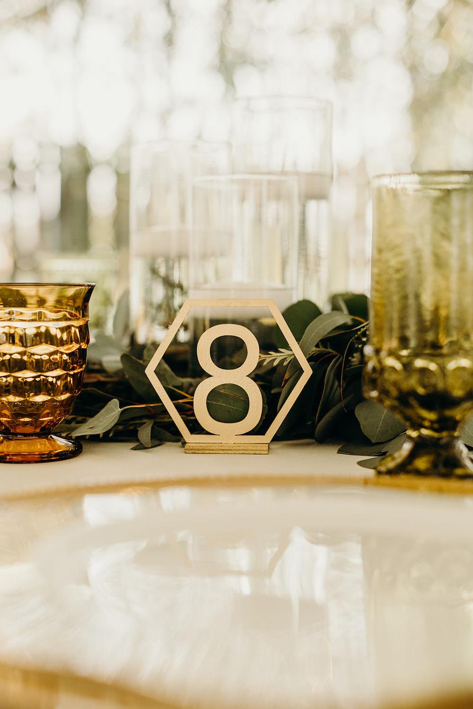 Gold Table Number Name Laser Cut Orlando Wedding Dani Nichol Photography