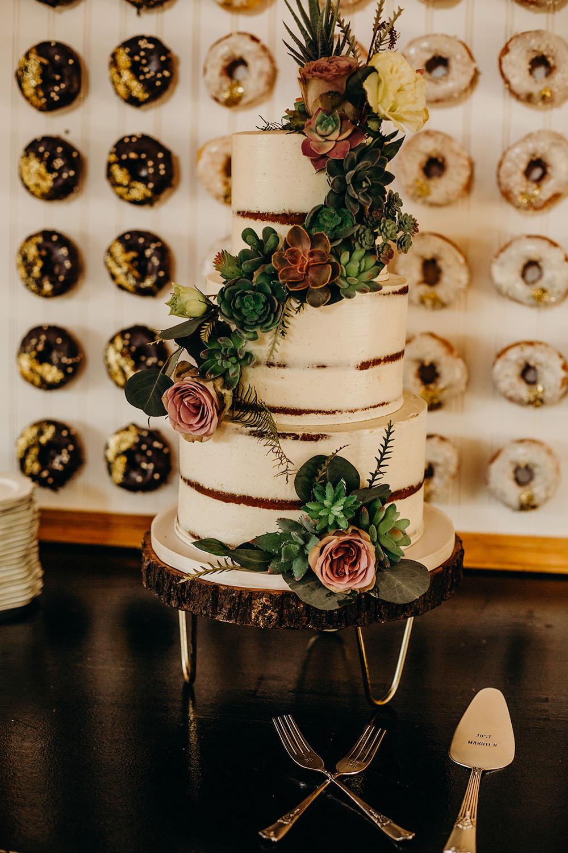 Buttercream Semi Naked Cake Flowers Greenery Donut Doughnut Wall Orlando Wedding Dani Nichol Photography