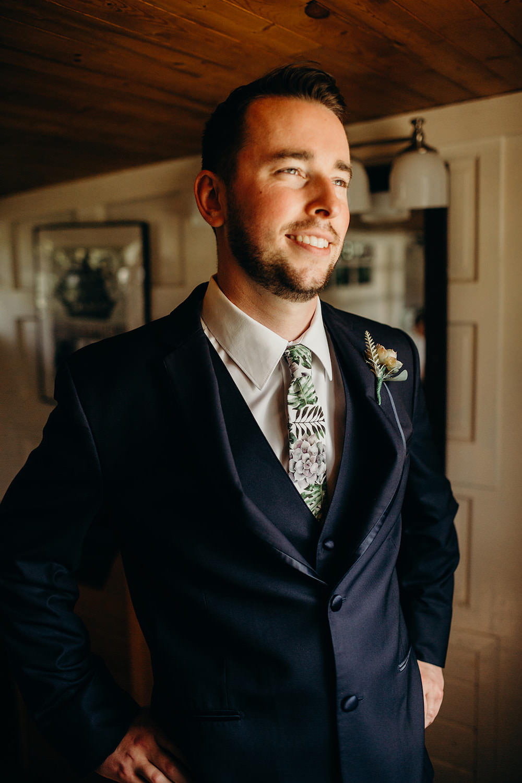 Groom Suit Navy Floral Greenery Foliage Botanical Tie Orlando Wedding Dani Nichol Photography