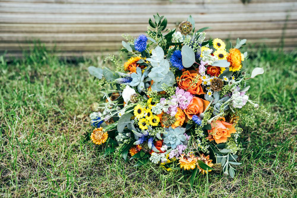 Bouquet Flowers Bride Bridal Colourful Orange Yellow Blue Outdoor DIY Wedding Three Flowers Photography
