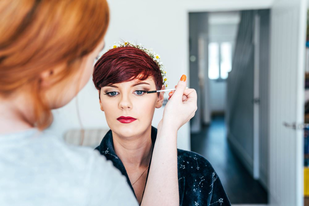Bride Bridal Make Up Outdoor DIY Wedding Three Flowers Photography