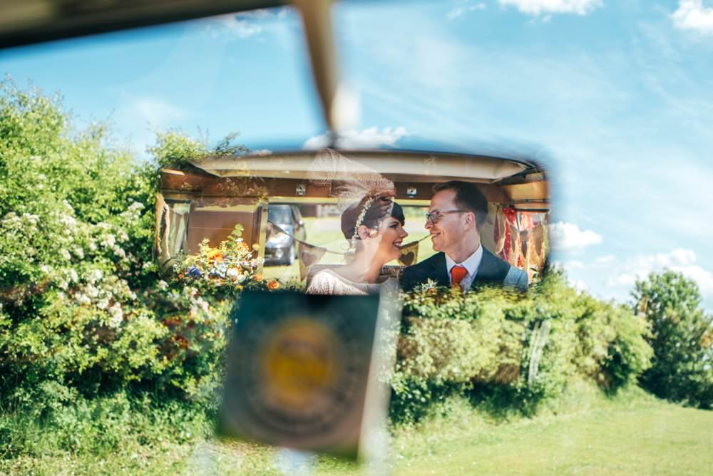 VW Campervan Transport Yellow Outdoor DIY Wedding Three Flowers Photography