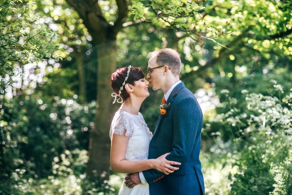 Groom Suit Blue Tweed Orange Tie Outdoor DIY Wedding Three Flowers Photography