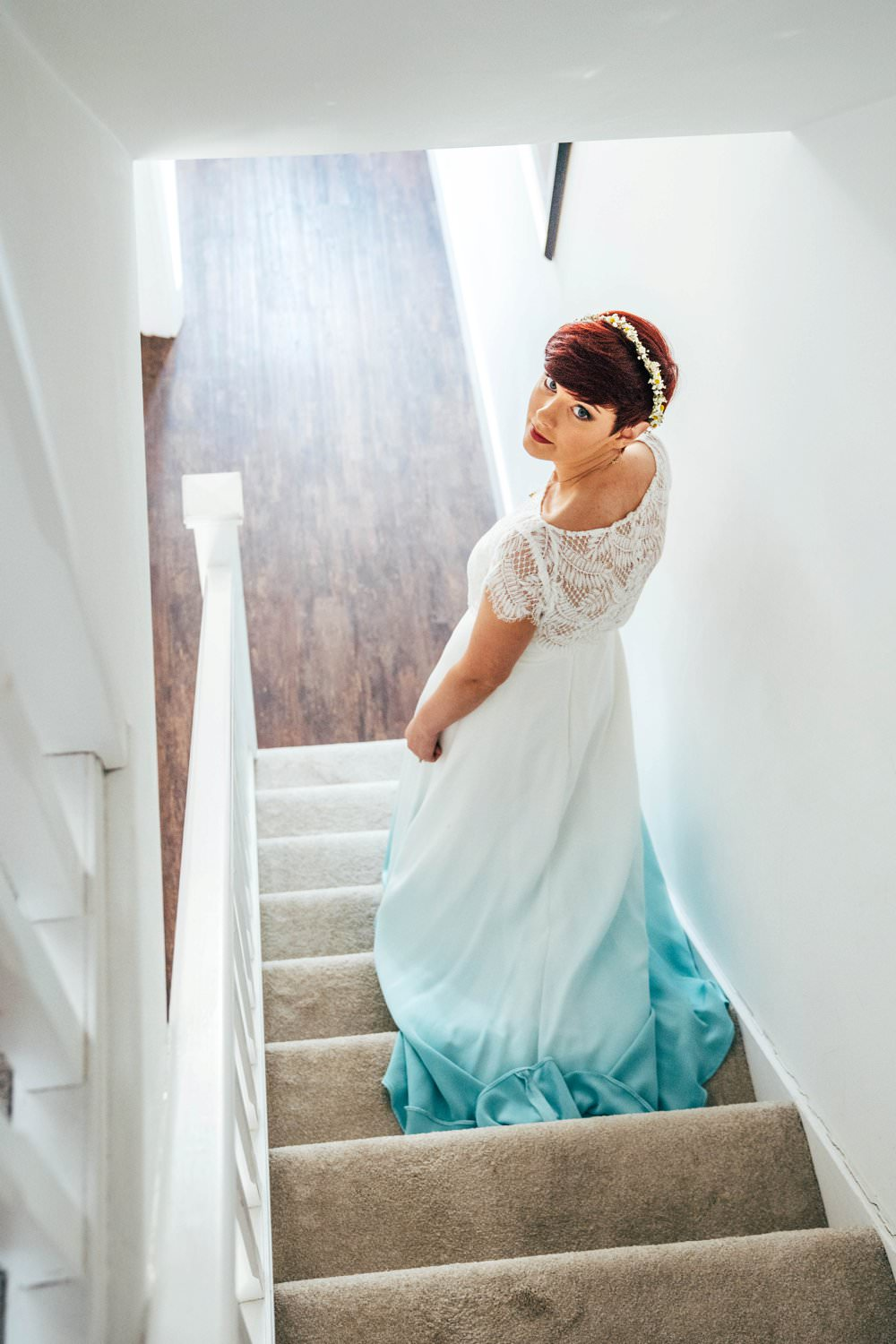 Bride Bridal Dress Gown Alternative Dip Dye Blue Colour Colourful Outdoor DIY Wedding Three Flowers Photography