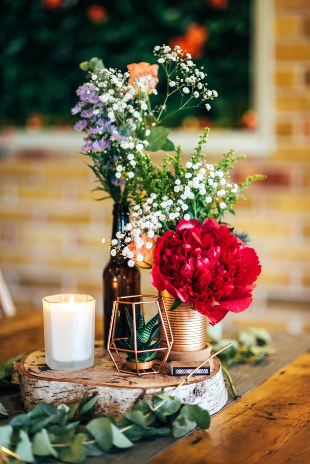 Centrepiece Table Decor Decoration Flowers Tin Can Bottle Log Slice Candle Copper Outdoor DIY Wedding Three Flowers Photography
