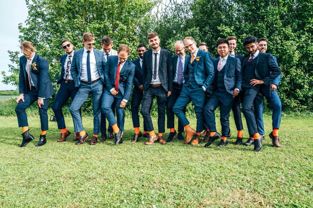 Groom Suit Blue Tweed Orange Tie Groomsmen Outdoor DIY Wedding Three Flowers Photography