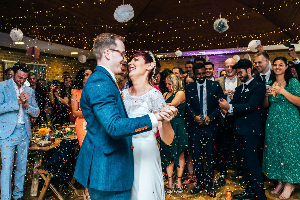 First Dance Confetti Cannon Outdoor DIY Wedding Three Flowers Photography