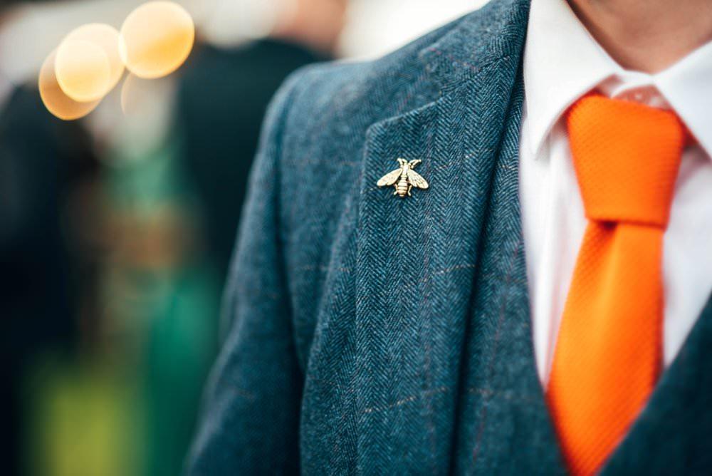Groom Suit Blue Tweed Orange Tie Bee Pin Lapel Outdoor DIY Wedding Three Flowers Photography