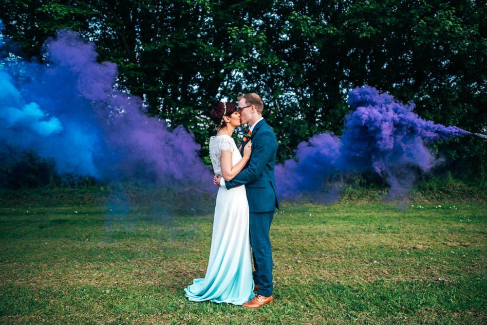 Outdoor DIY Wedding Three Flowers Photography Purple Smoke Bomb Photo Photos Photographs