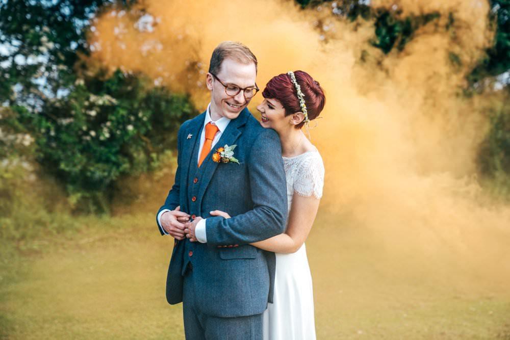 Outdoor DIY Wedding Three Flowers Photography Groom Suit Blue Tweed Orange Tie