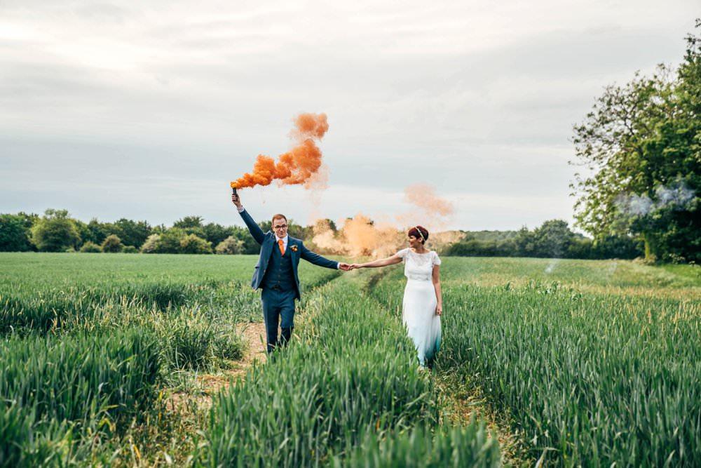 Outdoor DIY Wedding Three Flowers Photography Orange Smoke Bomb Photo Photos Photographs