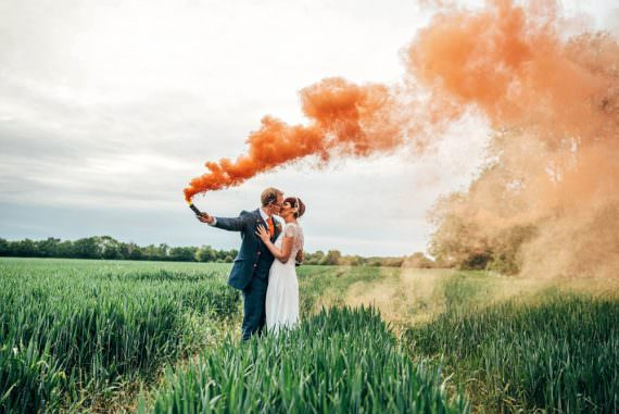 Outdoor DIY Wedding Three Flowers Photography Orange Smoke Bomb Photo Photos Photographs