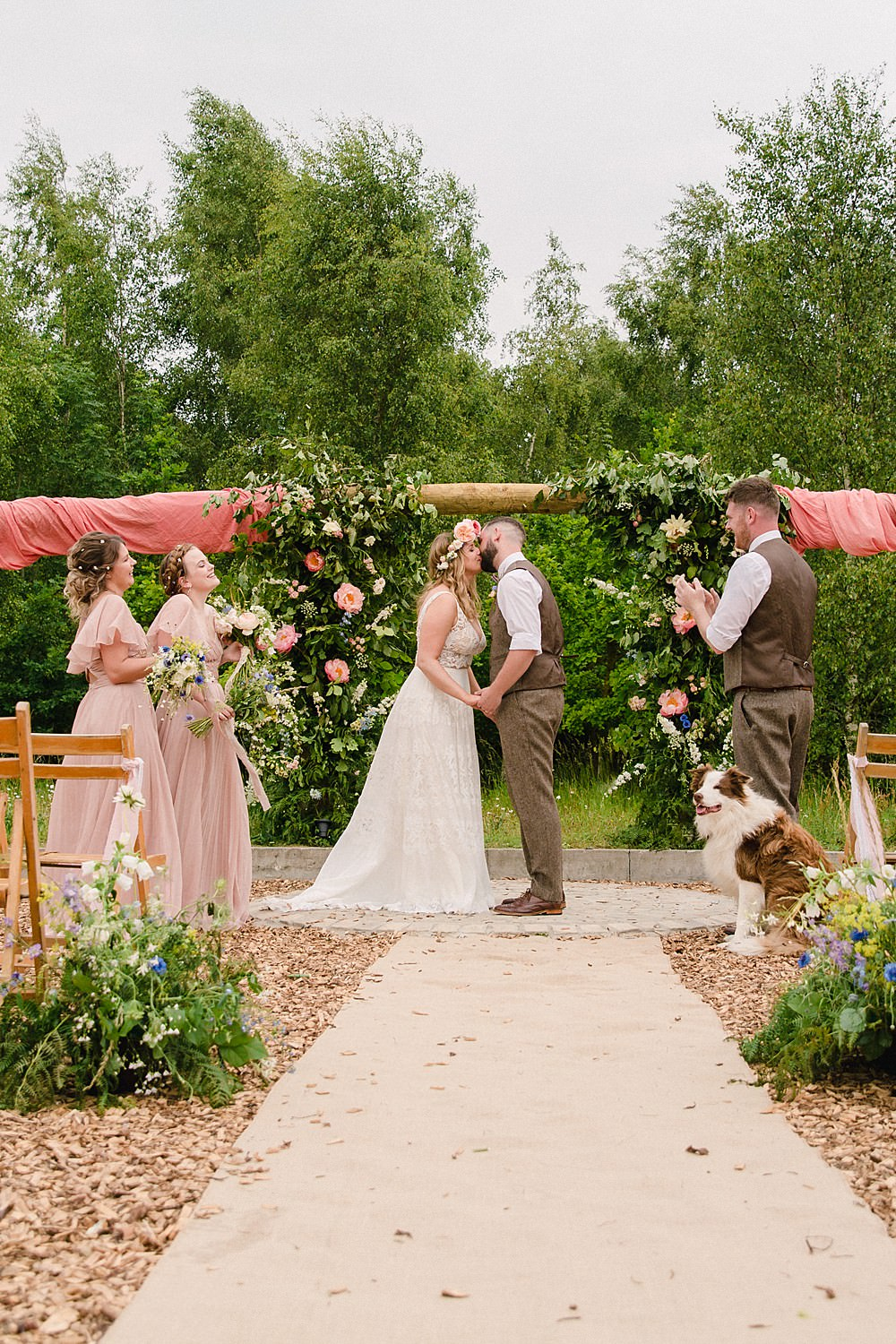 Ceremony Flowers Arch Aisle Meadow Wild Natural Flower Installation Pew End Pet Wedding Ideas Vicky Plum Photography
