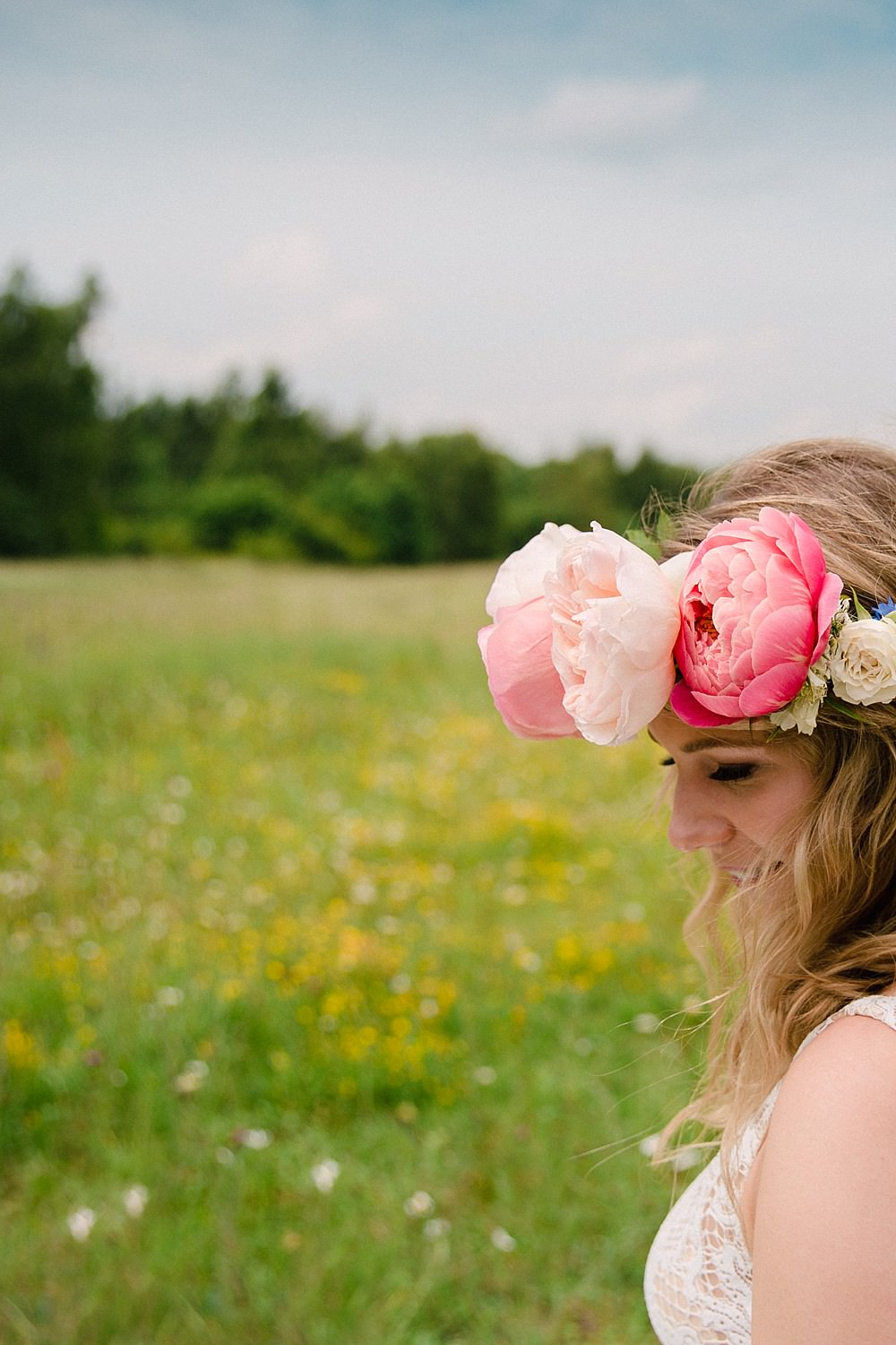Flower Crown Bride Bridal Pink Peony Peonies Pet Wedding Ideas Vicky Plum Photography