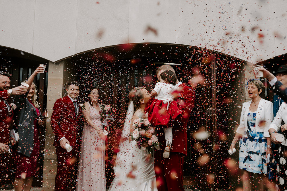 Bride Bridal Sweetheart Neckline Pearl Headpiece Burgundy Suit Waistcoat Groom Veil Confetti Pumping House Wedding Jo Greenfield Photographer