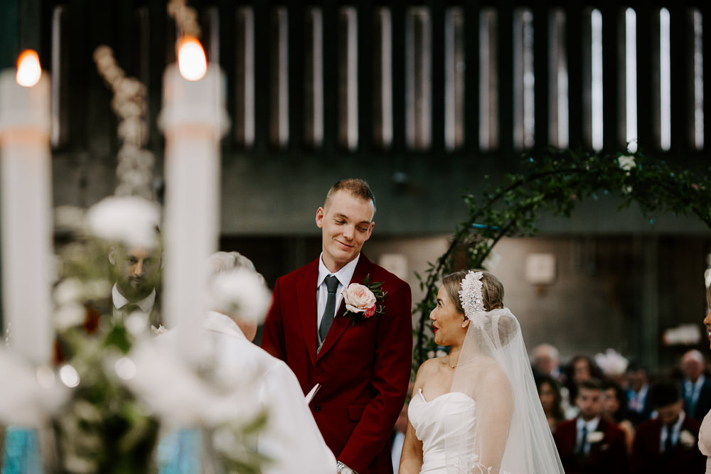 Bride Bridal Sweetheart Neckline Pearl Headpiece Burgundy Suit Waistcoat Groom Veil Pumping House Wedding Jo Greenfield Photographer