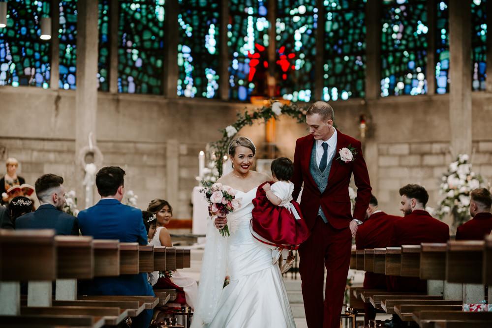 Bride Bridal Sweetheart Neckline Pearl Headpiece Burgundy Suit Waistcoat Groom Veil Flower Girl Crimson Pumping House Wedding Jo Greenfield Photographer