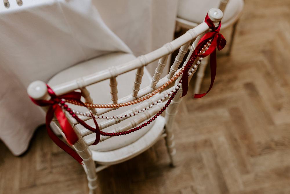 Chair Beads Decor Pumping House Wedding Jo Greenfield Photographer