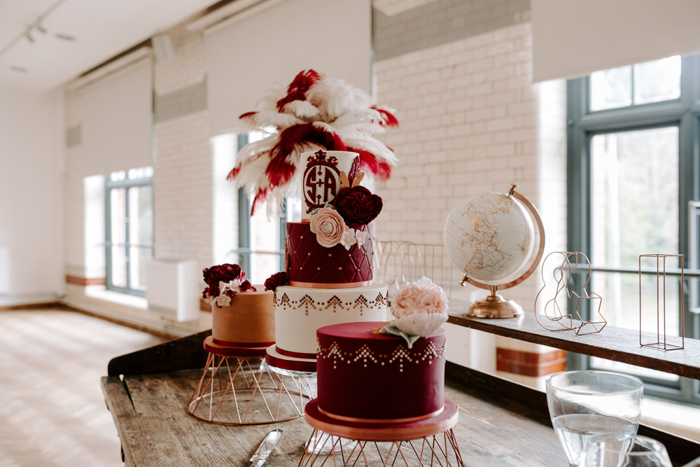 Burgundy Pink Three Tier Cake Feathers Copper Rose Gold Stand Pumping House Wedding Jo Greenfield Photographer