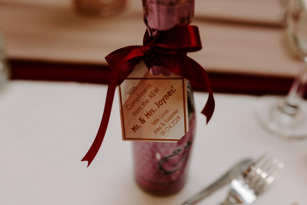 Favour Miniature Champagne Organza Ribbon Pumping House Wedding Jo Greenfield Photographer