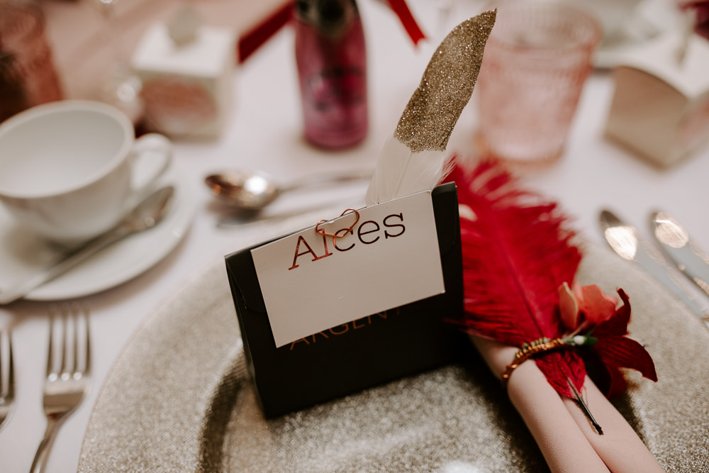 Place Card Glitter Charger Plate Feather Pumping House Wedding Jo Greenfield Photographer