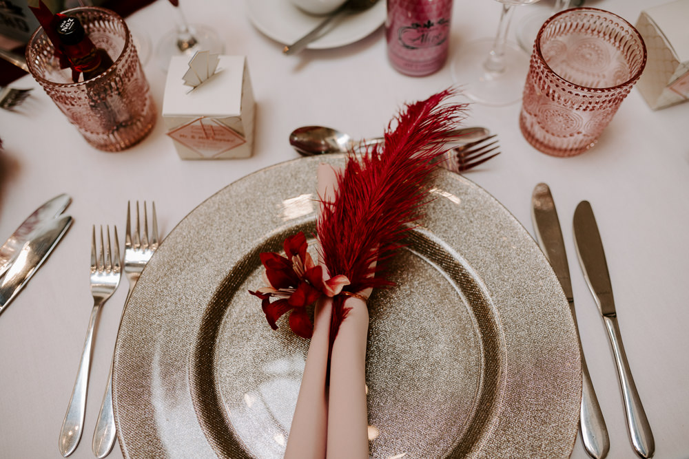 Glitter Charger Plate Napkin Feather Pink Place Setting Pumping House Wedding Jo Greenfield Photographer
