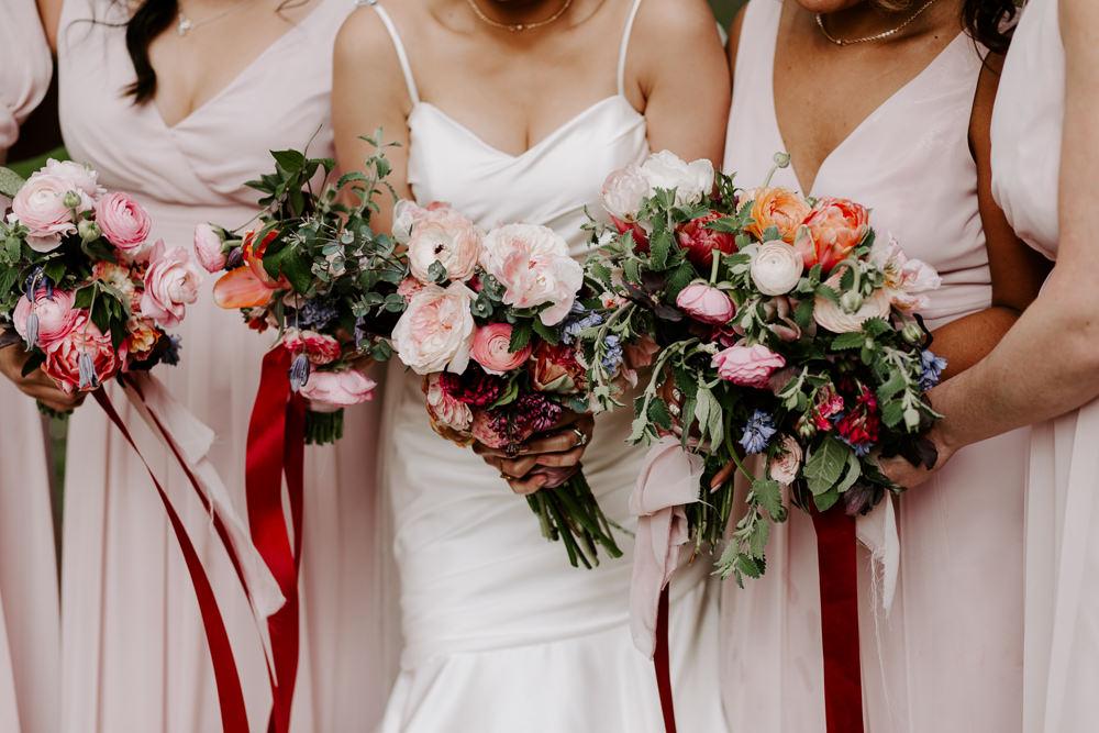 Bride Bridal Bridesmaids Bouquet Pink Burgundy Ribbon Pumping House Wedding Jo Greenfield Photographer