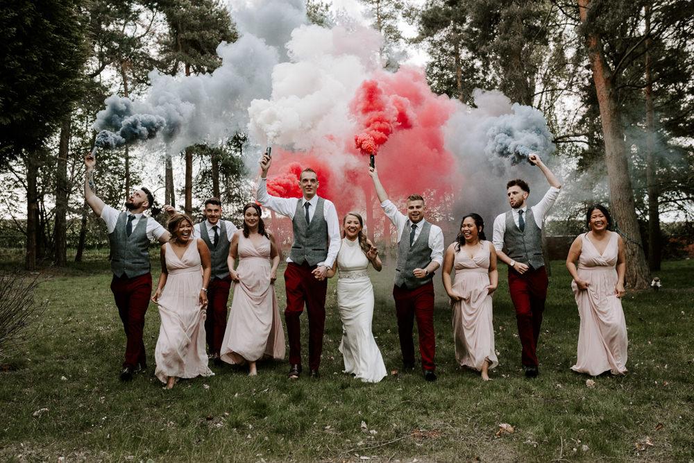 Smoke Bomb Portrait Bride Bridal Pink Bridesmaids Waistcoat Groom Groomsmen Pumping House Wedding Jo Greenfield Photographer