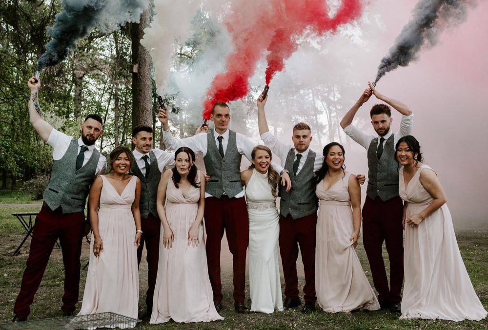 Smoke Bomb Portrait Waistcoat Groom Groomsmen Pink V Neck Bridesmaids Halterneck Bride Bridal Dress Gown Pumping House Wedding Jo Greenfield Photographer