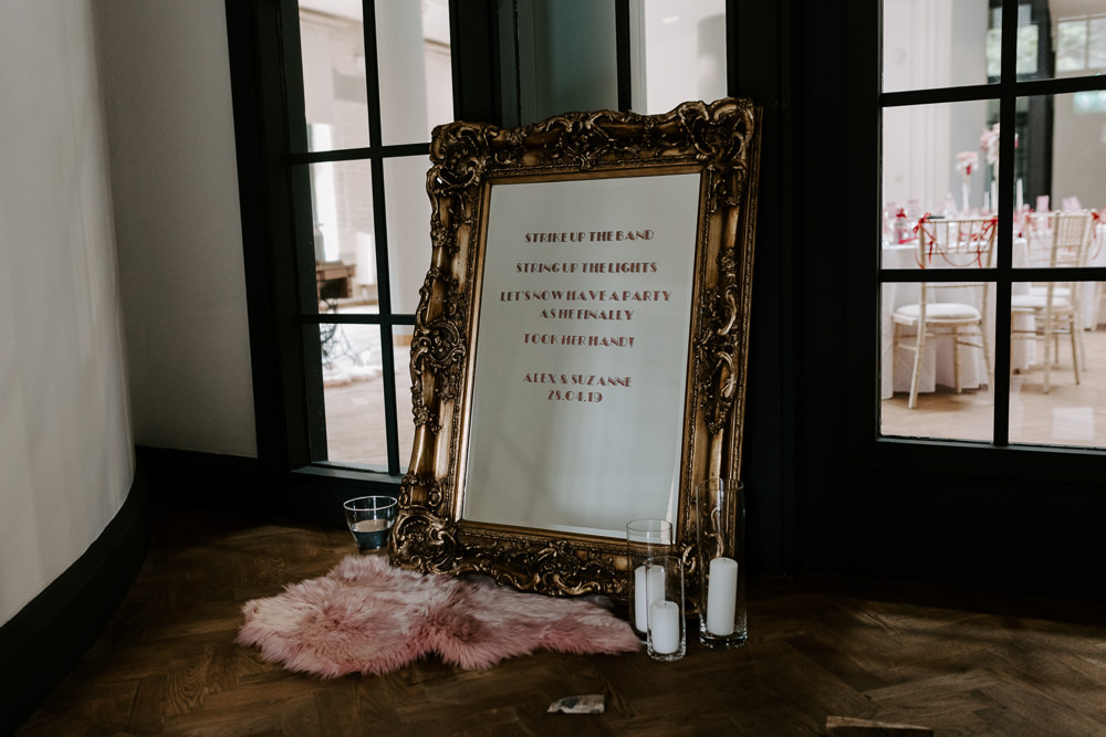 Welcome Sign Candles Pumping House Wedding Jo Greenfield Photographer