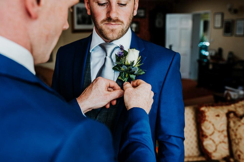 Thistle Lavender Rose Buttonholes Village Tipi Wedding Ryan Goold Photography