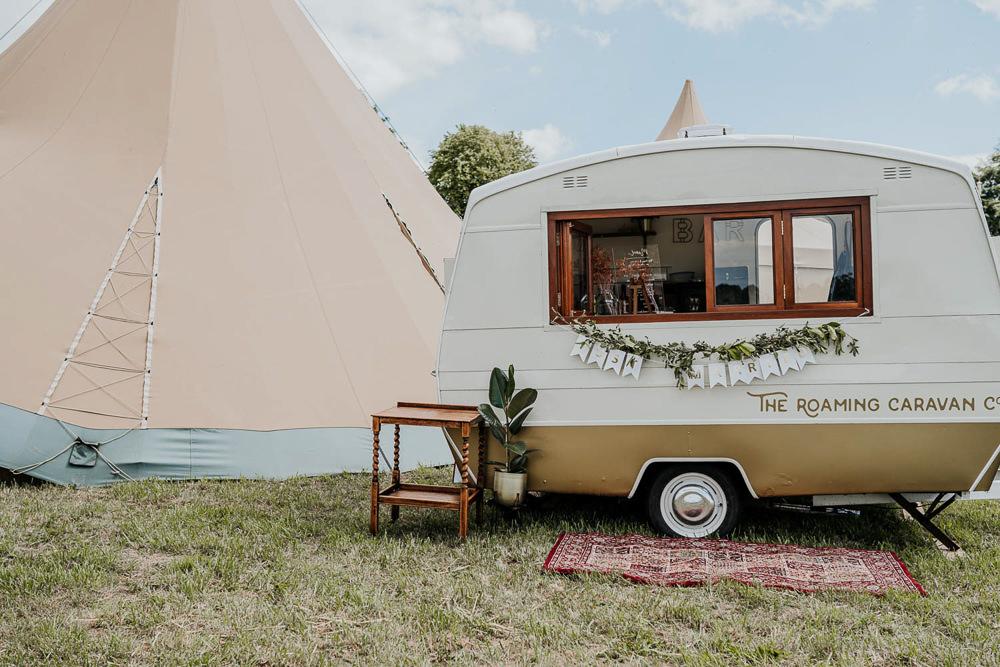 Vintage Caravan Mobile Bar Village Tipi Wedding Ryan Goold Photography