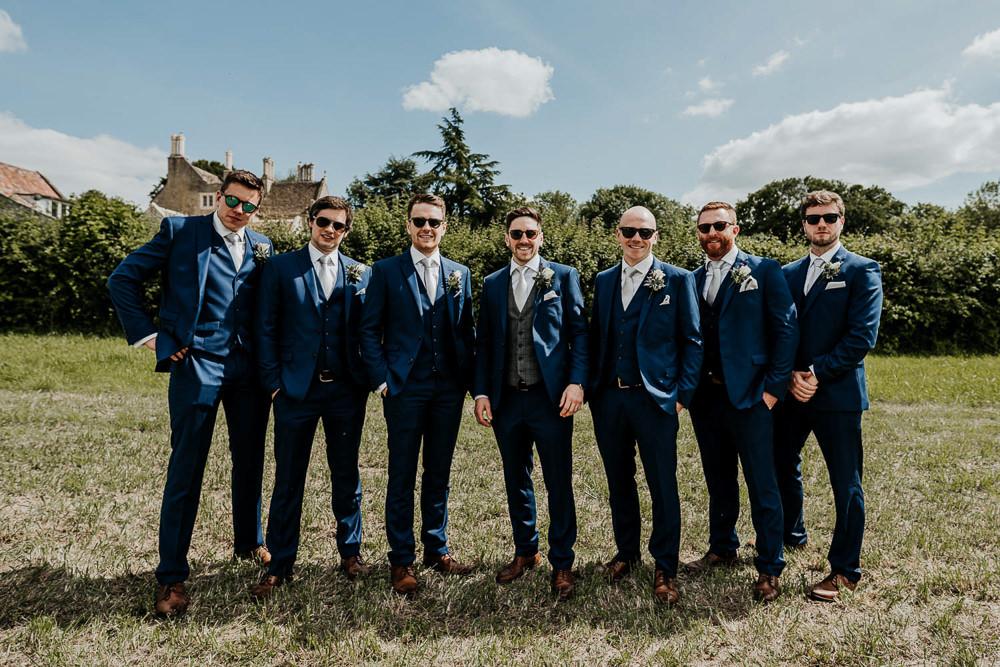Groom Suit Groomsmen Blue Tie Village Tipi Wedding Ryan Goold Photography