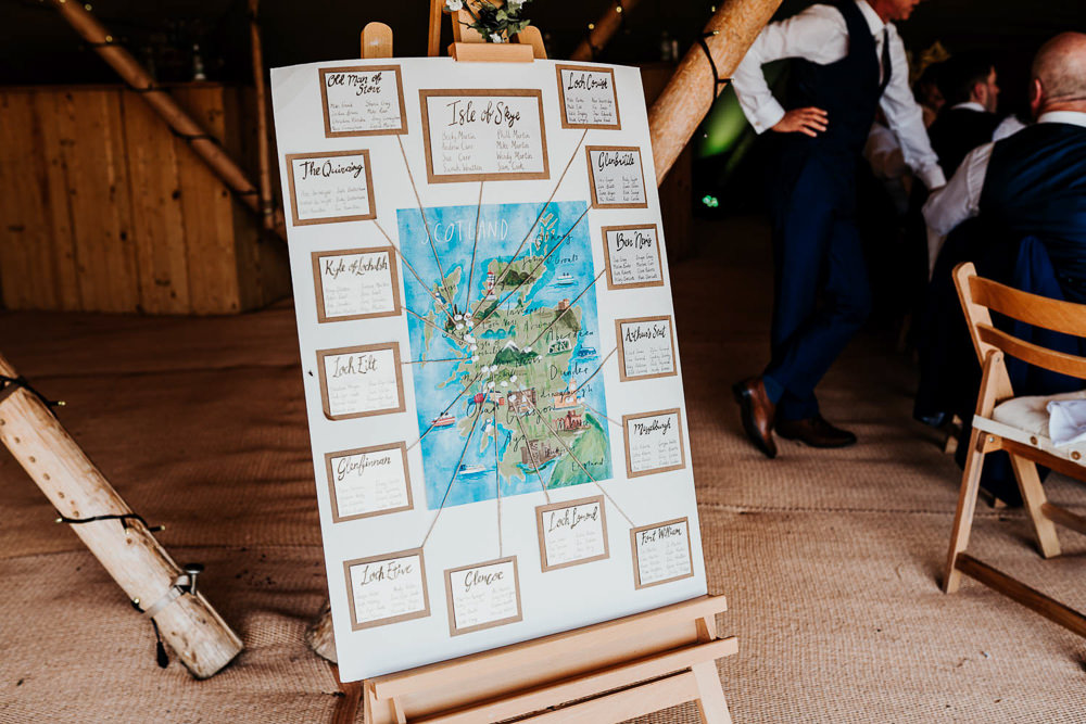 Travel Map Seating Plan Table Chart Village Tipi Wedding Ryan Goold Photography