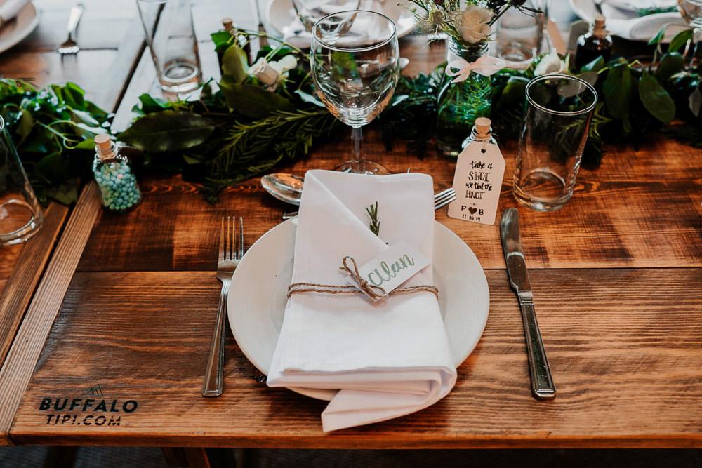 Place Setting Napkin Twine Calligraphy Name Village Tipi Wedding Ryan Goold Photography