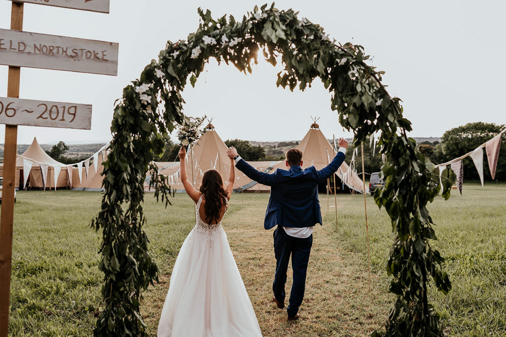 Greenery Foliage Arch Flower Village Tipi Wedding Ryan Goold Photography