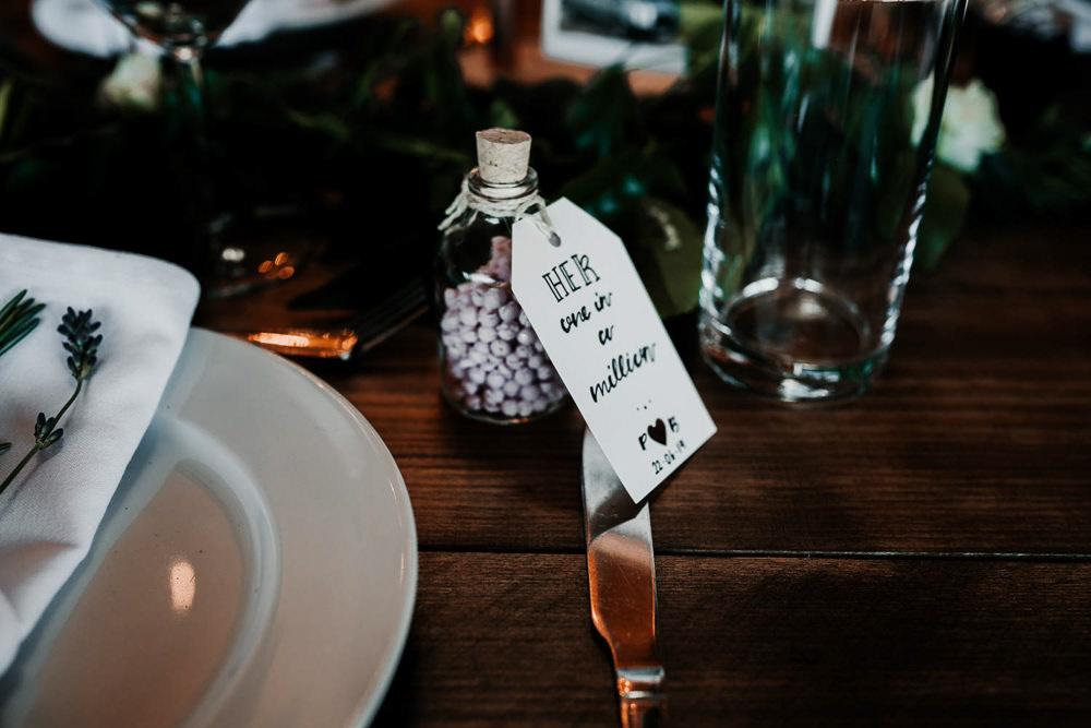 Favours Bottles Luggage Tag Village Tipi Wedding Ryan Goold Photography