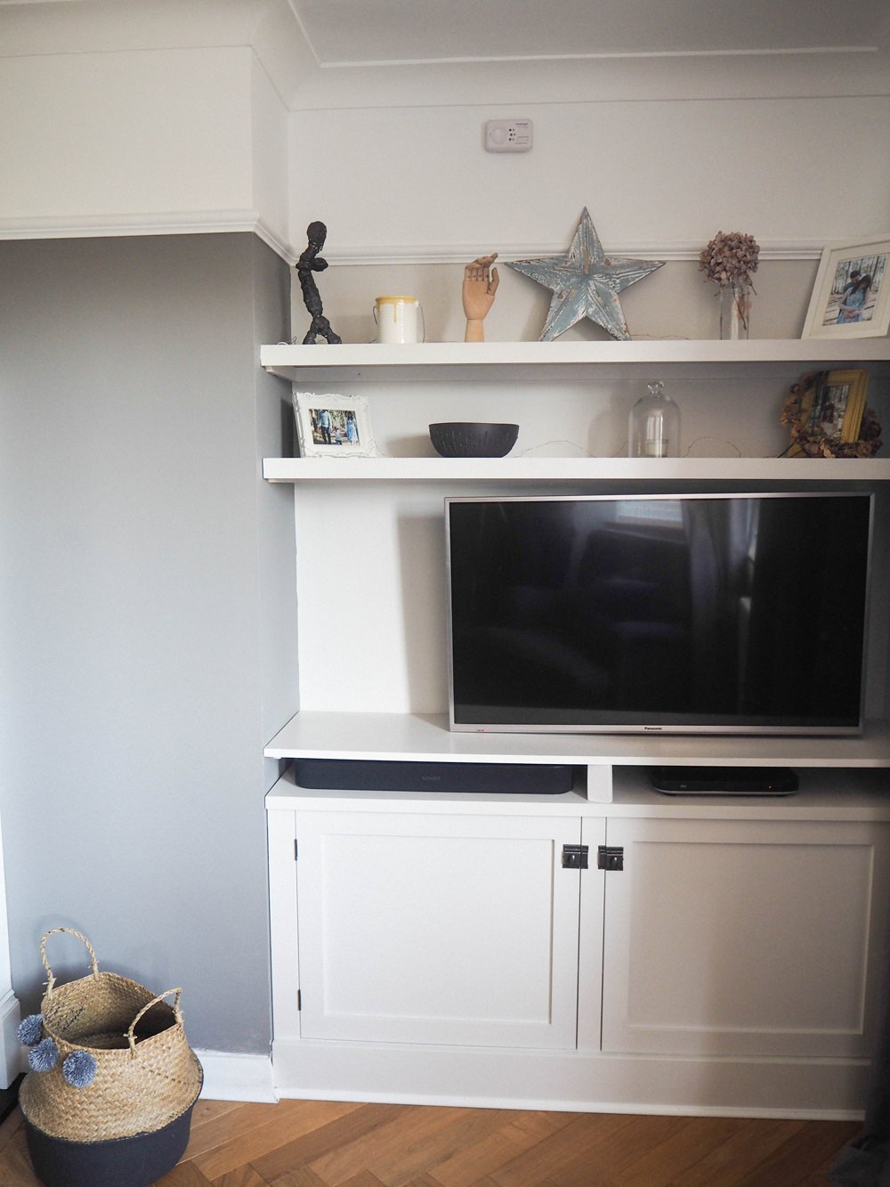 Built In TV Cupboard Alcove Shelf Shelving DIY 1930s House Living Room Renovation